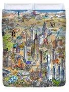 New York City Illustrated Map Duvet Cover