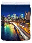New York City Lights Blue Duvet Cover