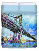 New York City Manhattan Bridge Blue Duvet Cover