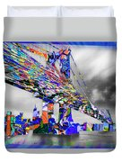 New York City Manhattan Bridge Pure Pop Blue Duvet Cover