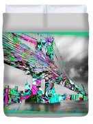 New York City Manhattan Bridge Pure Pop Green Duvet Cover