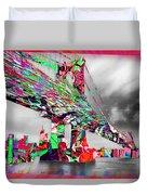New York City Manhattan Bridge Pure Pop Red Duvet Cover