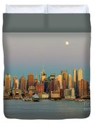 New York City Moonrise I Duvet Cover by Clarence Holmes
