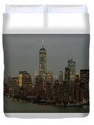 New York City Skyline Aerial - Lower Manhattan Duvet Cover