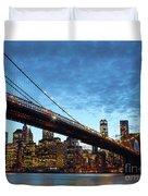 New York City Skyline By Night Duvet Cover