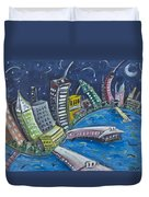 New York City Skyline Hoboken Duvet Cover