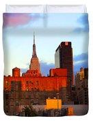 New York City Skyline Sunset Duvet Cover