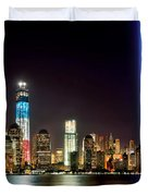 New York City Skyline Tribute In Lights And Lower Manhattan At Night Nyc Duvet Cover