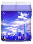 New York City Skyline With Freedom Tower Duvet Cover