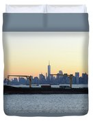 New York City Skyline With Passing Container Ship Duvet Cover