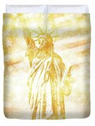 New York City Statue Of Liberty With American Banner - Golden Painting Duvet Cover