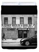 New York City Storefront Bw4 Duvet Cover