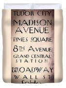 New York City Street Sign Duvet Cover
