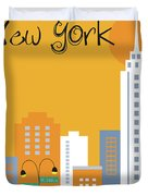 New York City Vertical Skyline - Empire State At Dawn Duvet Cover