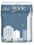 New York City Vertical Skyline - Empire State At Dusk Duvet Cover