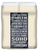New York City Vintage Subway Stops With Map Duvet Cover