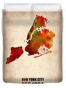 New York City Watercolor Map 2 Duvet Cover