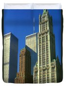 New York City - Woolworth Building And World Trade Center Duvet Cover