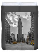 New York - Flatiron Building And Yellow Cabs - 2 Duvet Cover