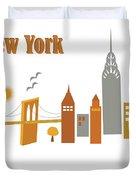 New York Horizontal Scene - Brooklyn Bridge Duvet Cover