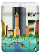 New York Horizontal Skyline - Central Park Duvet Cover