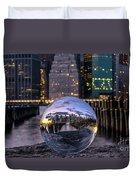 New York In Glass Ball Duvet Cover
