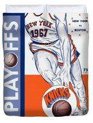 New York Knicks V Boston 1967 Playoff Program Duvet Cover