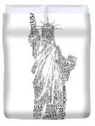 New York Lady Liberty Words Duvet Cover