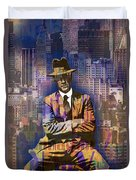 New York Man Seated City Background 1 Duvet Cover