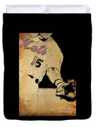 New York Mets 15 Red And Blue Vintage Cards On Brown Background Duvet Cover