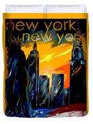 New York Night Skyline Duvet Cover