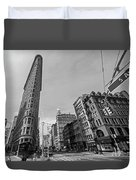 New York Ny Flatiron Building Fifth Avenue Black And White Duvet Cover