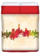 New York Orange Skyline Duvet Cover