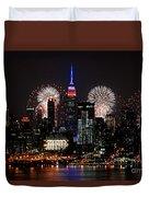 New York Skyline And Fireworks Duvet Cover