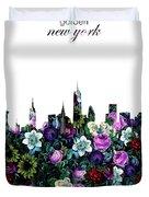 New York Skyline Floral 3 Duvet Cover