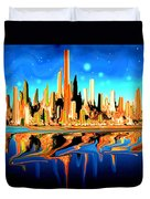 New York Skyline Blue Orange - Modern Art Duvet Cover