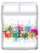 New York Skyline Paint Splatter Text Illustration Duvet Cover