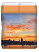 New York Skyline Sunrise Clouds And Color Duvet Cover