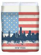 New York Skyline Usa Flag 4 Duvet Cover