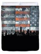New York Skyline Usa Flag 5 Duvet Cover