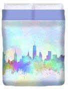 New York Skyline Watercolor 7 Duvet Cover