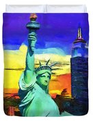 New York Statue Of Liberty Duvet Cover