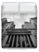 New York Stock Exchange Black And White Duvet Cover