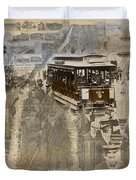 New York Trolley Vintage Photo Collage Duvet Cover