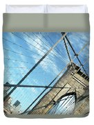 New York Usa  Brooklyn Bridge Towards Manhattan. Duvet Cover