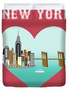 New York Vertical Skyline - Heart Duvet Cover