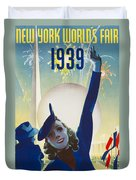 New York, World Fair, Firework, Woman In Blue Dress Duvet Cover