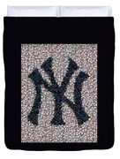 New York Yankees Bottle Cap Mosaic Duvet Cover by Paul Van Scott