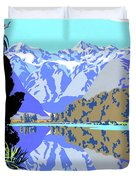 New Zealand Lake Matheson Vintage Travel Poster Duvet Cover