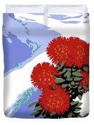 New Zealand Rata Blossom Vintage Travel Poster Duvet Cover